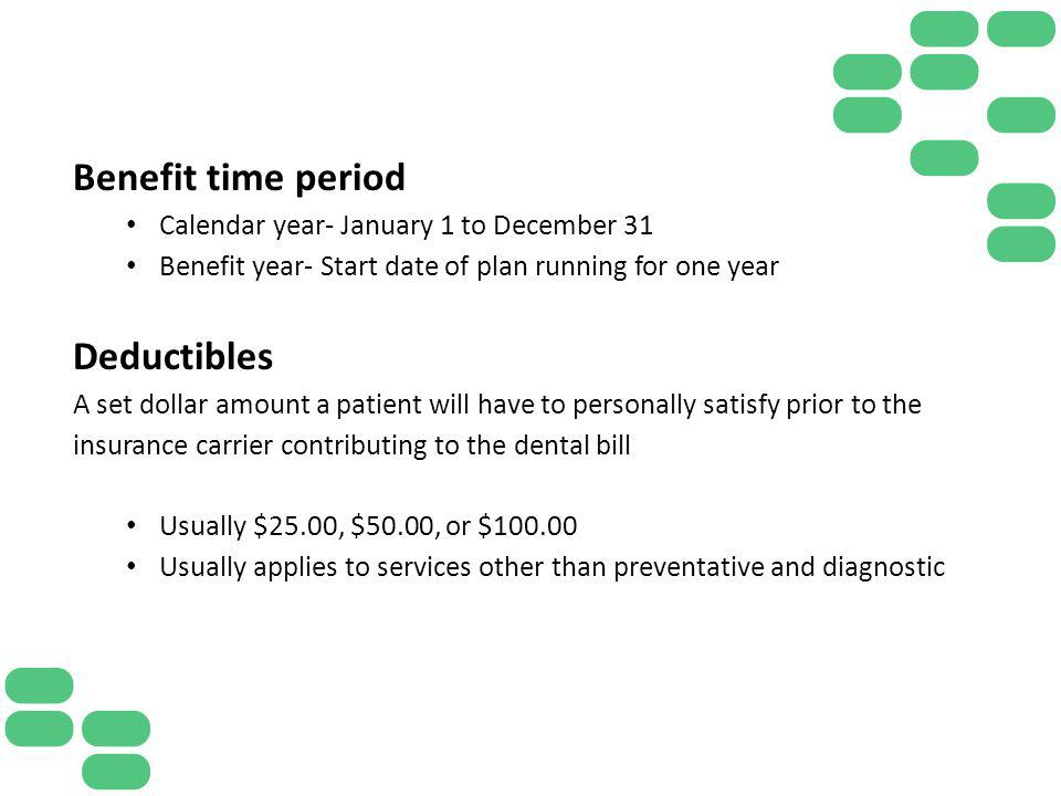 Benefit time period Deductibles
