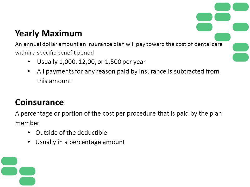Yearly Maximum Coinsurance Usually 1,000, 12,00, or 1,500 per year