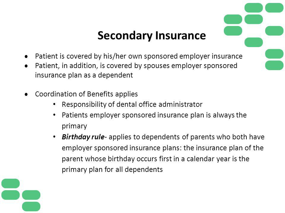 Secondary Insurance Patient is covered by his/her own sponsored employer insurance.