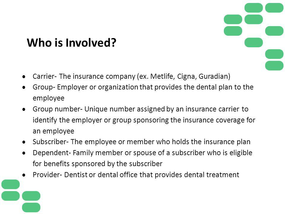 Who is Involved Carrier- The insurance company (ex. Metlife, Cigna, Guradian)