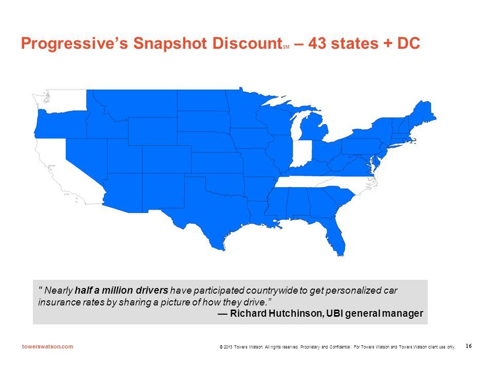 Progressive's Snapshot DiscountSM – 43 states + DC