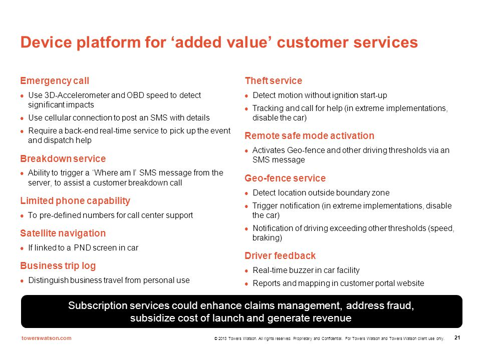 Device platform for 'added value' customer services