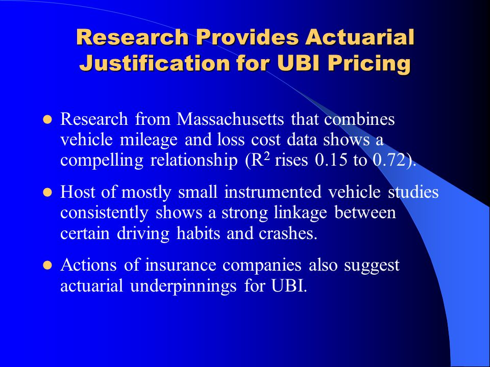 Research Provides Actuarial Justification for UBI Pricing