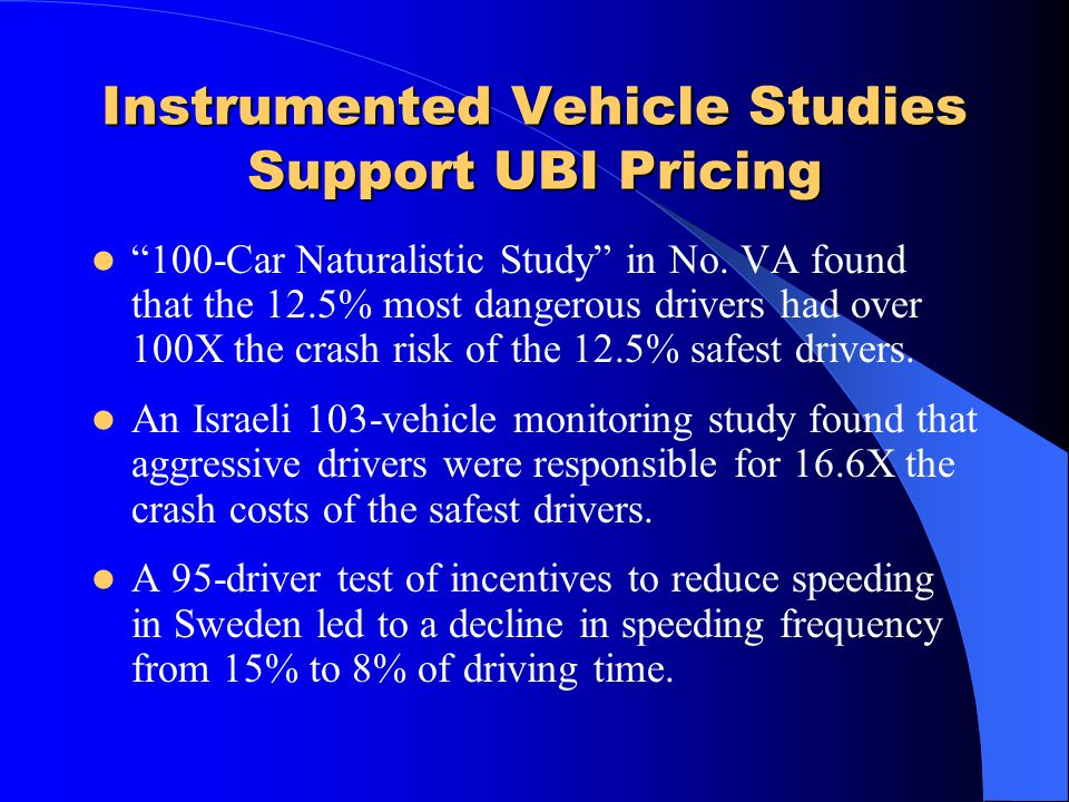 Instrumented Vehicle Studies Support UBI Pricing