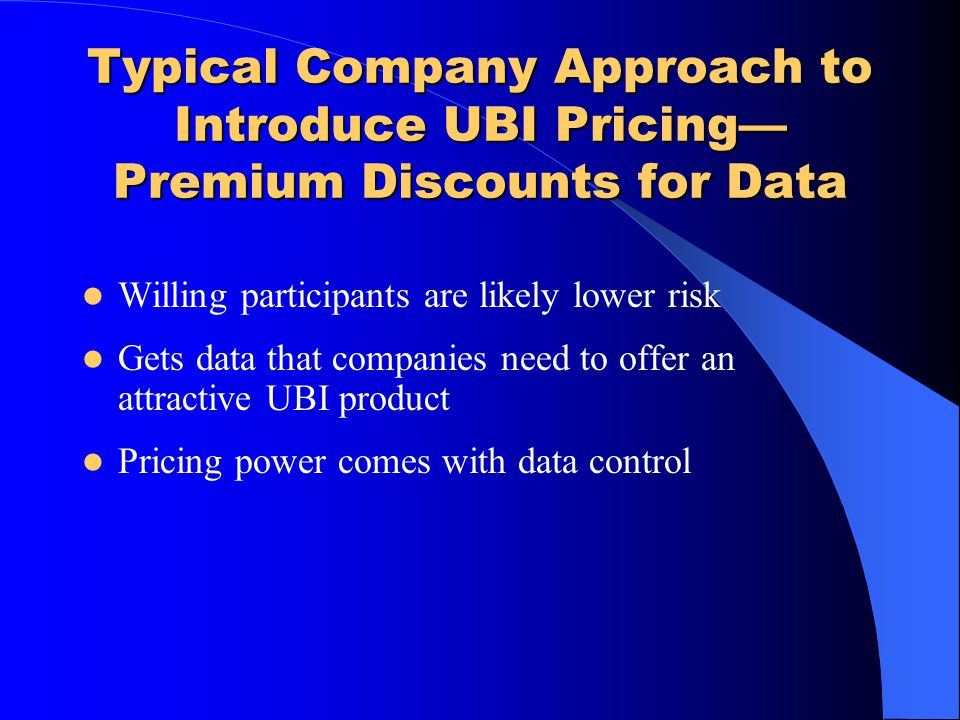 Typical Company Approach to Introduce UBI Pricing—Premium Discounts for Data