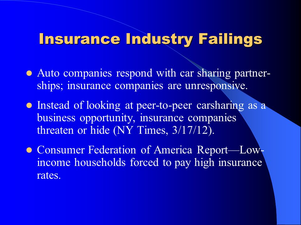 Insurance Industry Failings