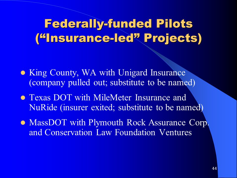 Federally-funded Pilots ( Insurance-led Projects)