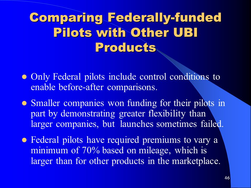 Comparing Federally-funded Pilots with Other UBI Products