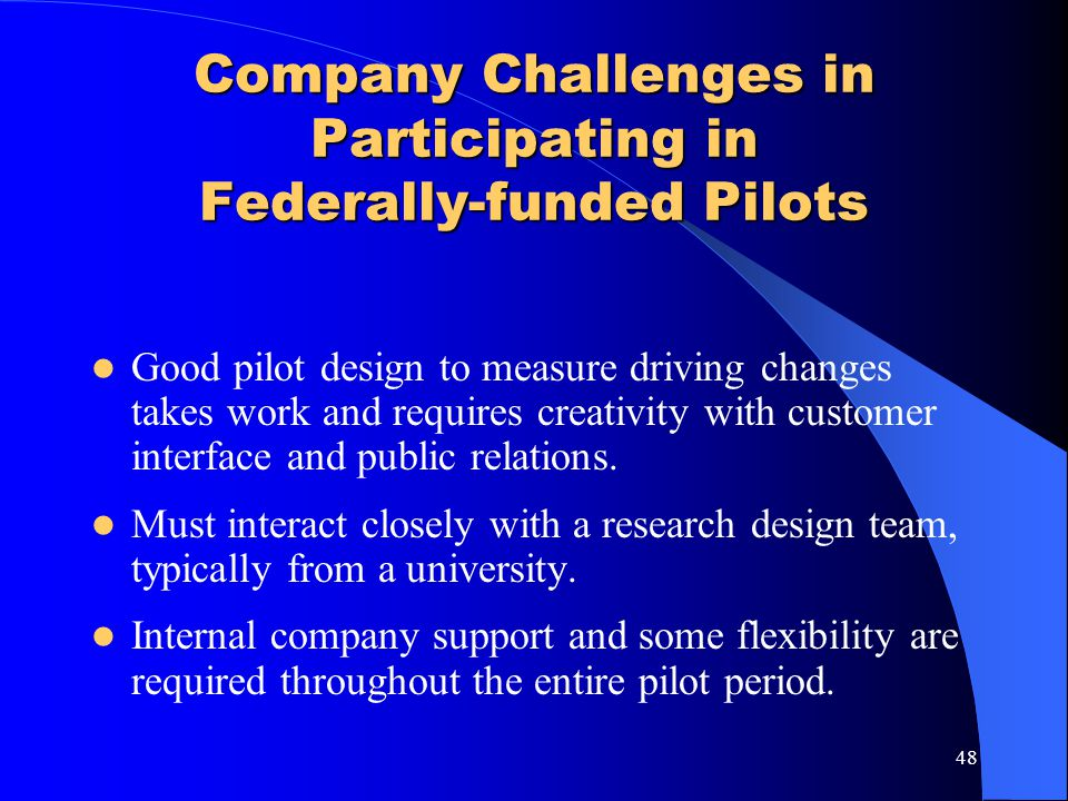 Company Challenges in Participating in Federally-funded Pilots