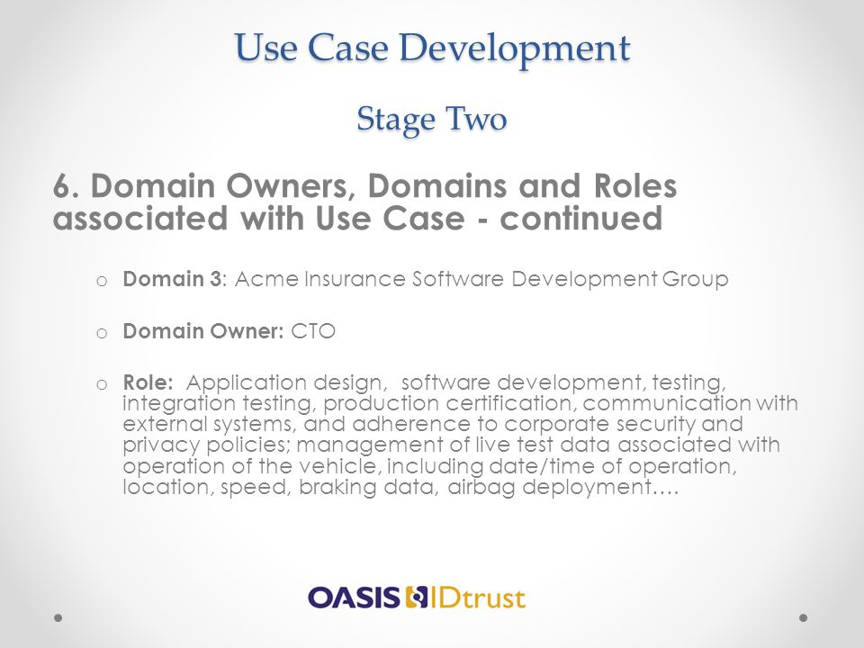 Use Case Development Stage Two