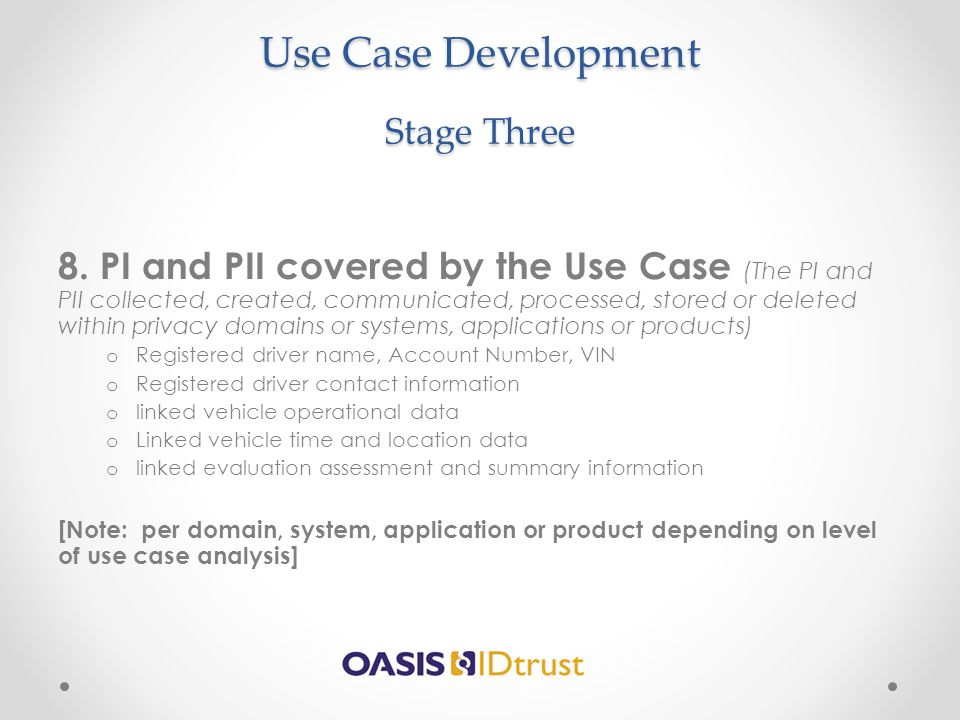 Use Case Development Stage Three