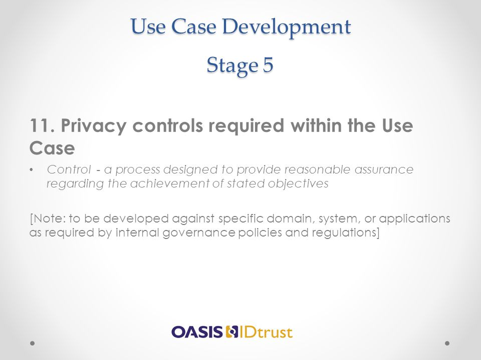 Use Case Development Stage 5