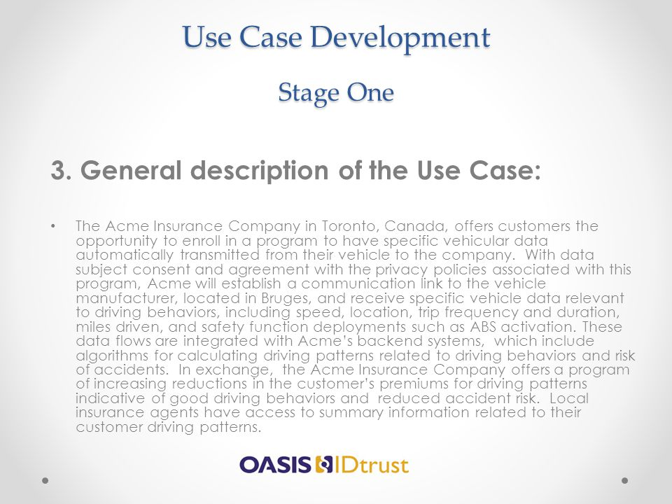 Use Case Development Stage One