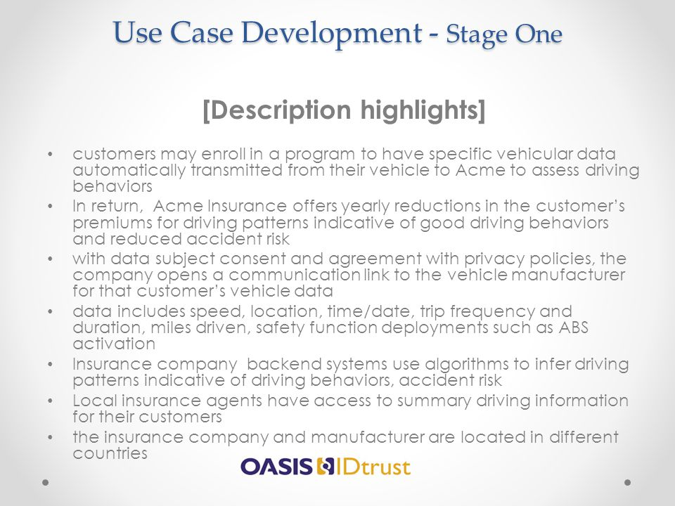 Use Case Development - Stage One
