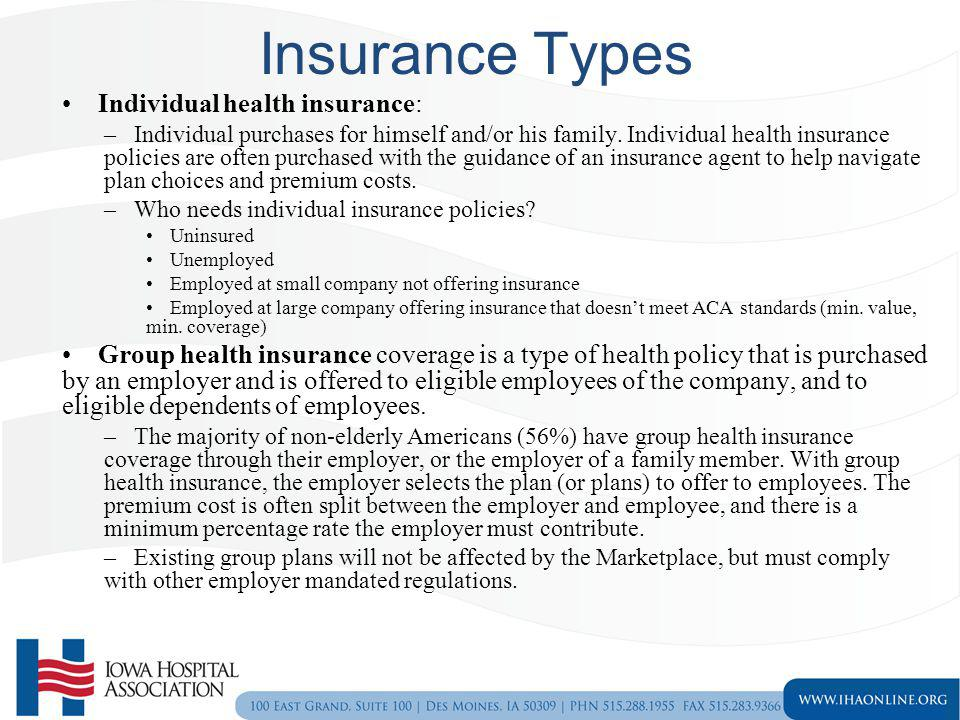 Insurance Types Individual health insurance: