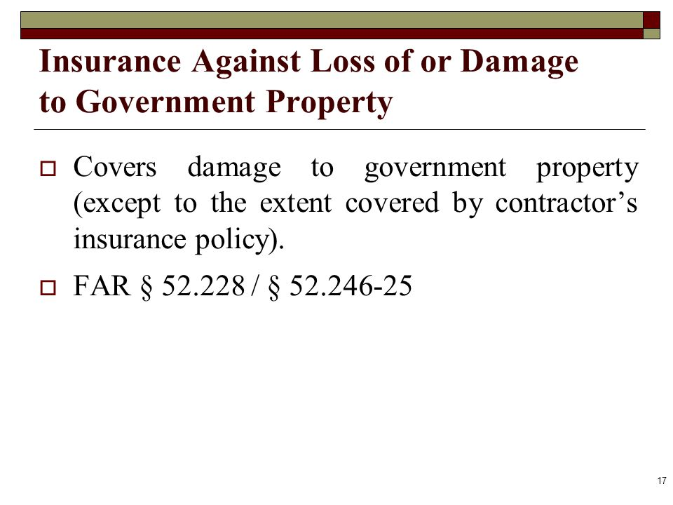 Insurance Against Loss of or Damage to Government Property