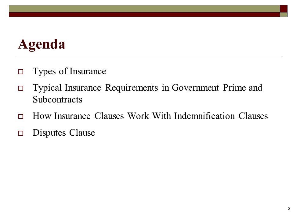 Agenda Types of Insurance