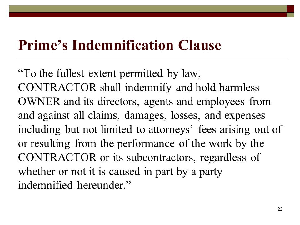 Prime's Indemnification Clause