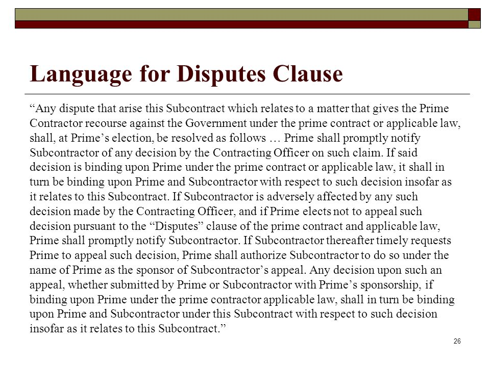 Language for Disputes Clause