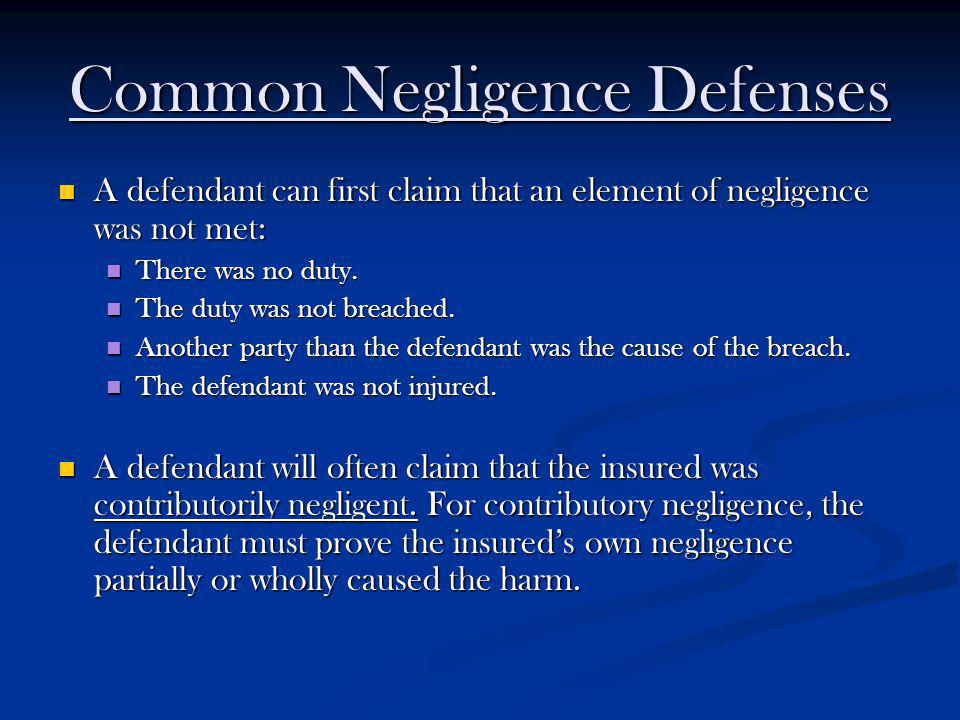 Common Negligence Defenses