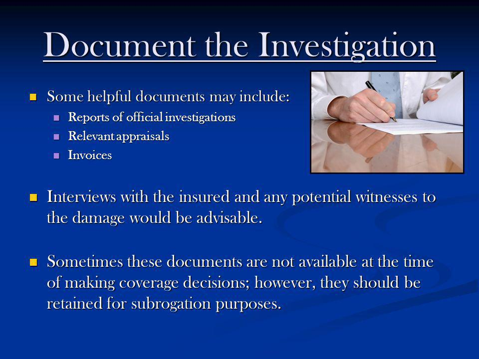 Document the Investigation