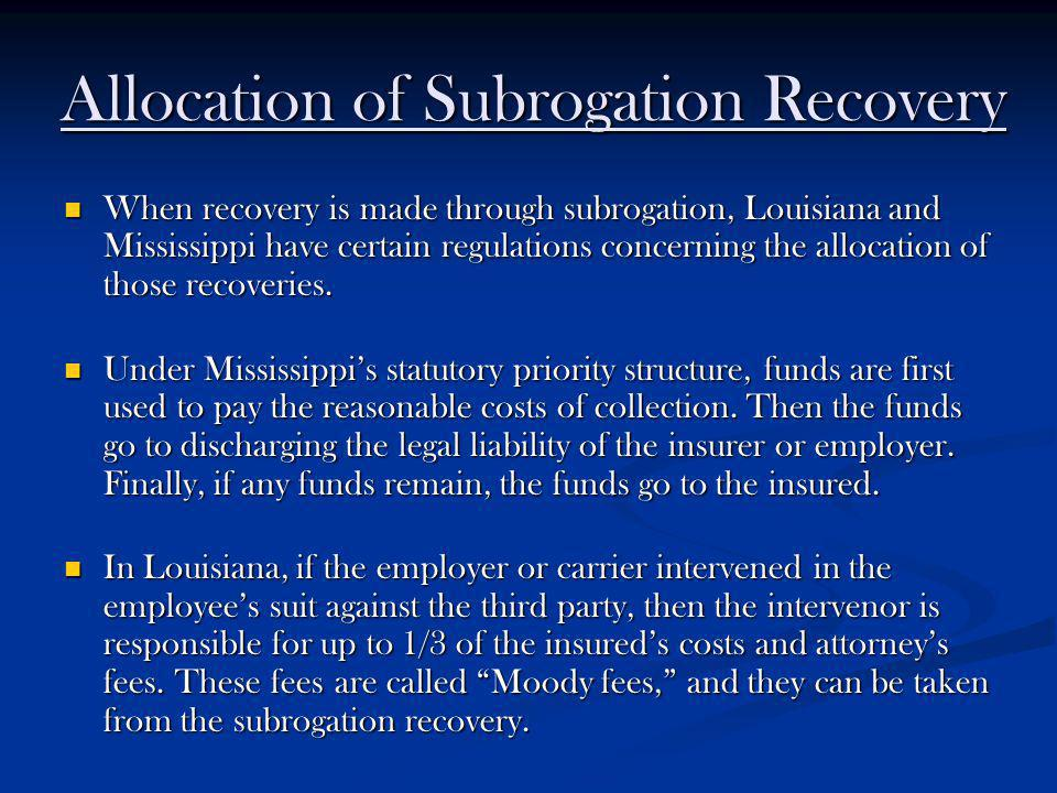 Allocation of Subrogation Recovery