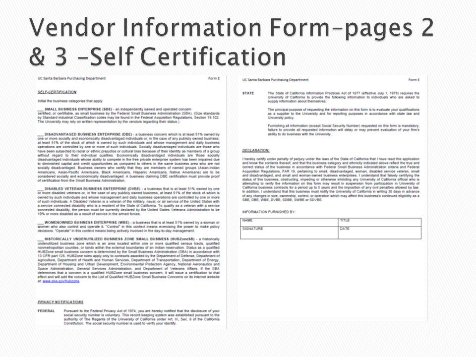 Vendor Information Form–pages 2 & 3 –Self Certification