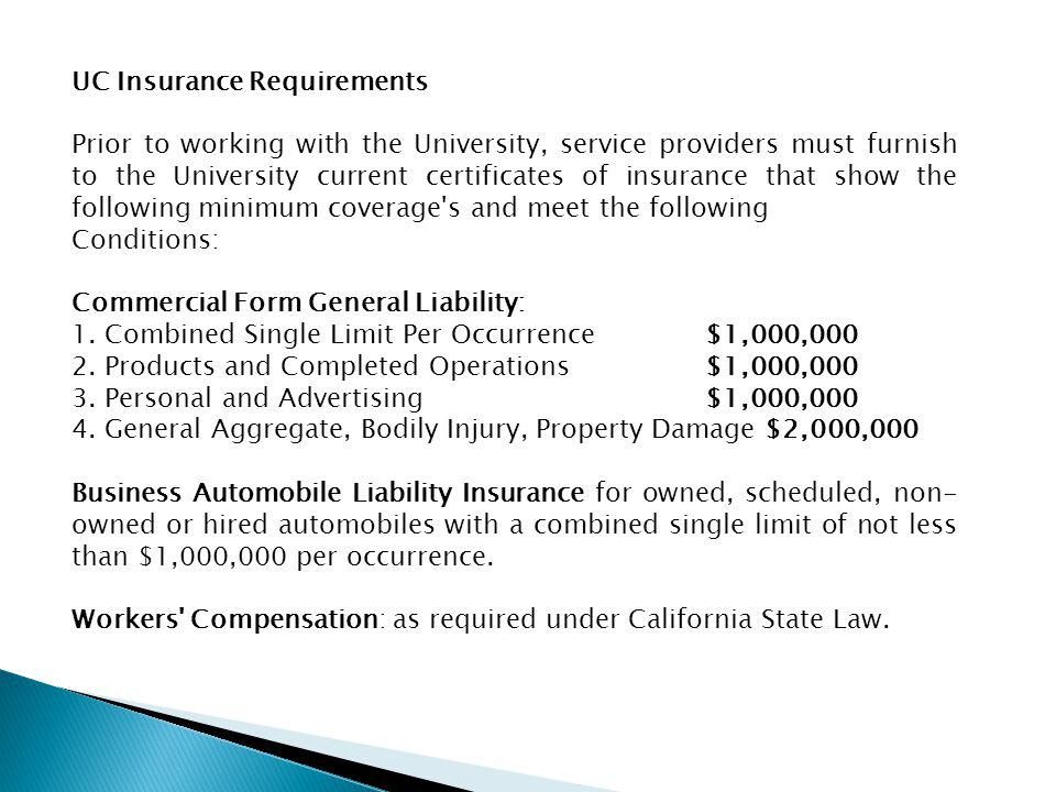 UC Insurance Requirements
