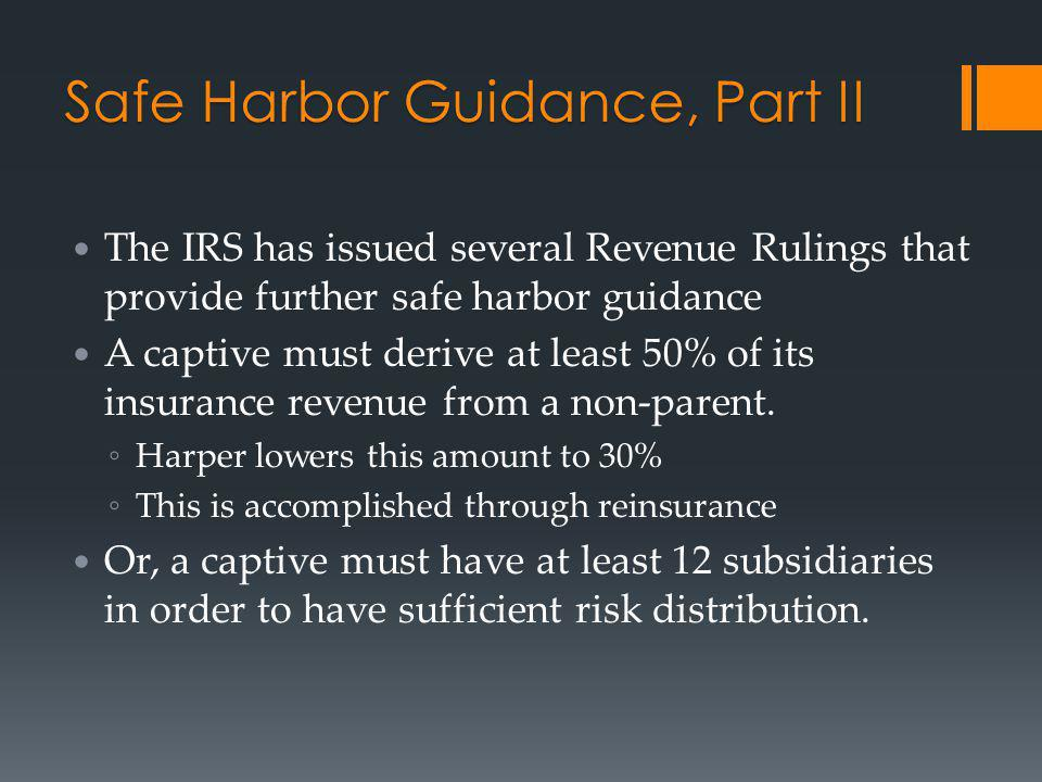 Safe Harbor Guidance, Part II