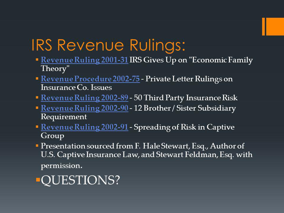 IRS Revenue Rulings: QUESTIONS