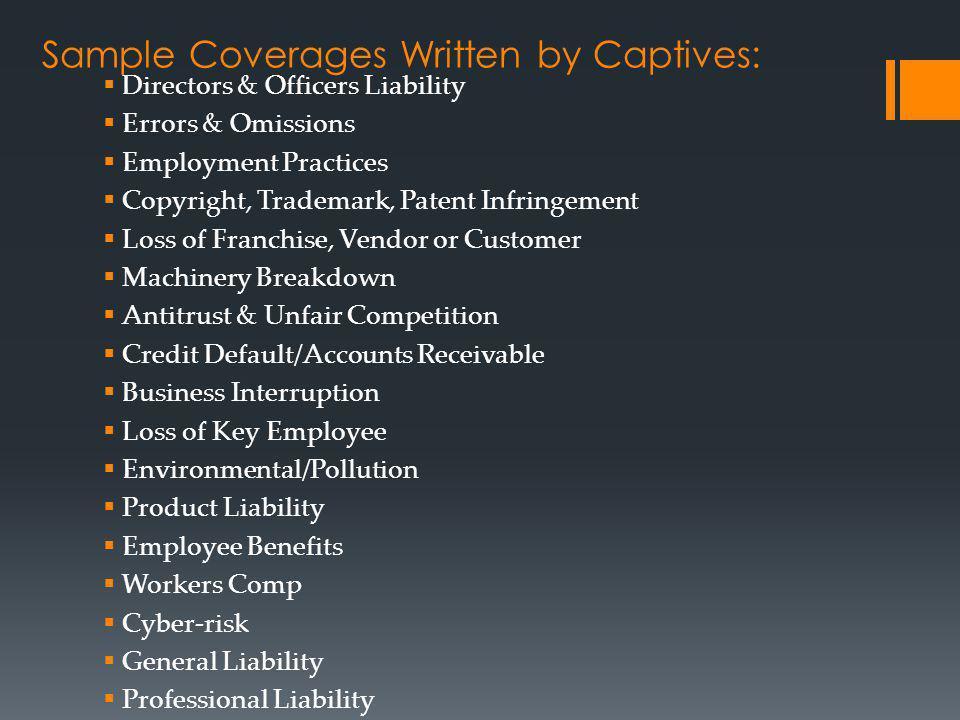 Sample Coverages Written by Captives: