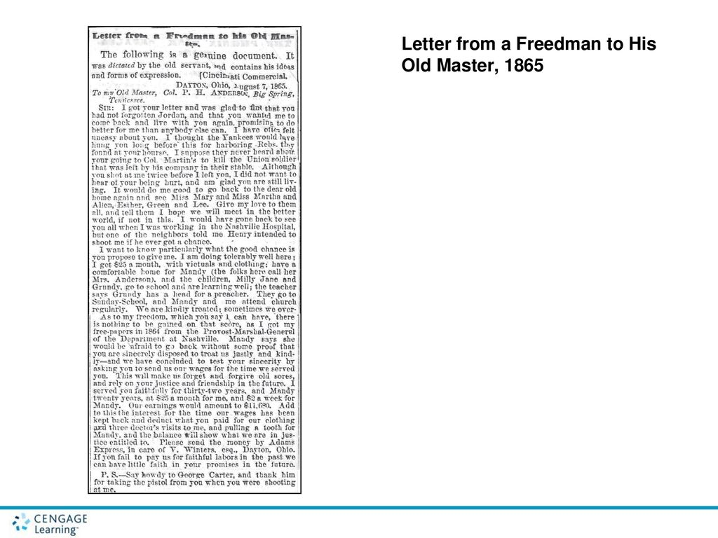 Letter From A Freedman To His Old Master.The Ordeal Of Reconstruction Ppt Download