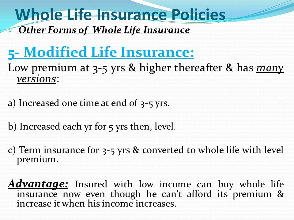Whole Life Insurance Policies