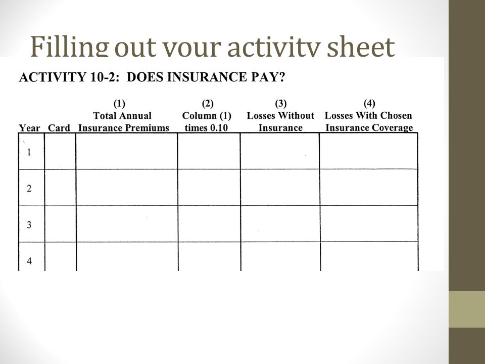 Filling out your activity sheet