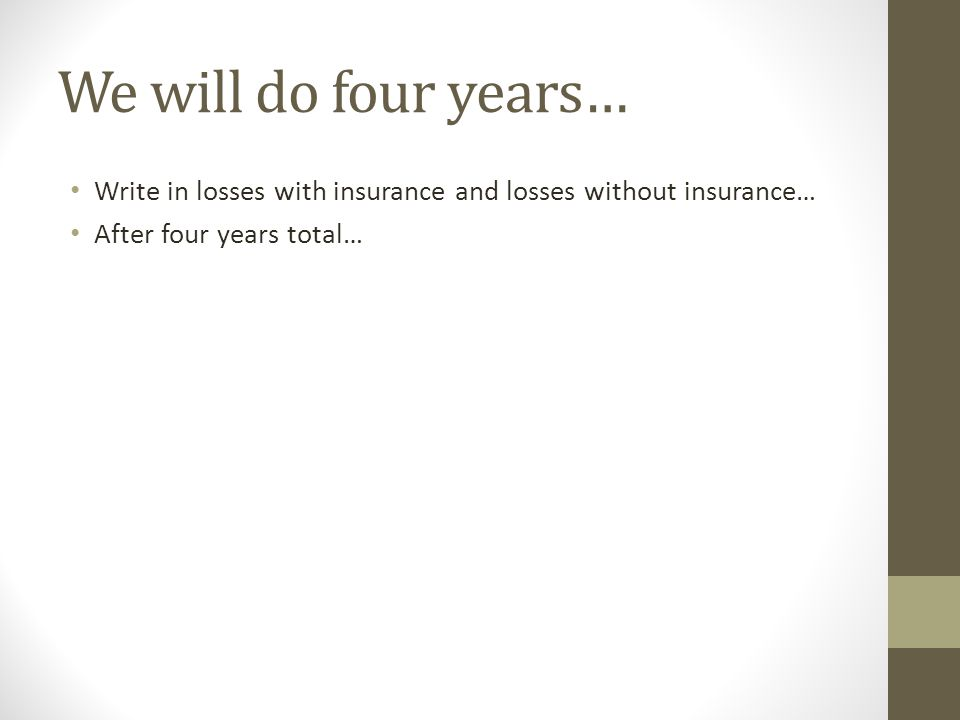 We will do four years… Write in losses with insurance and losses without insurance… After four years total…