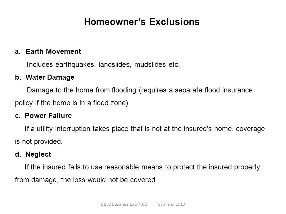 Homeowner's Exclusions