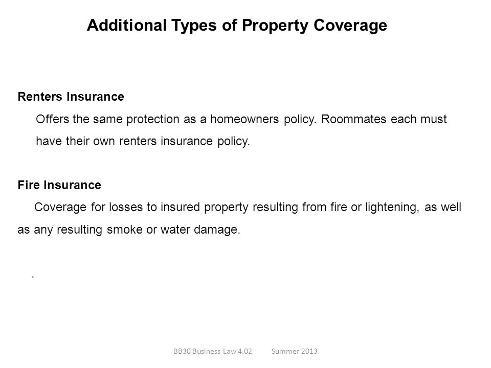 Additional Types of Property Coverage