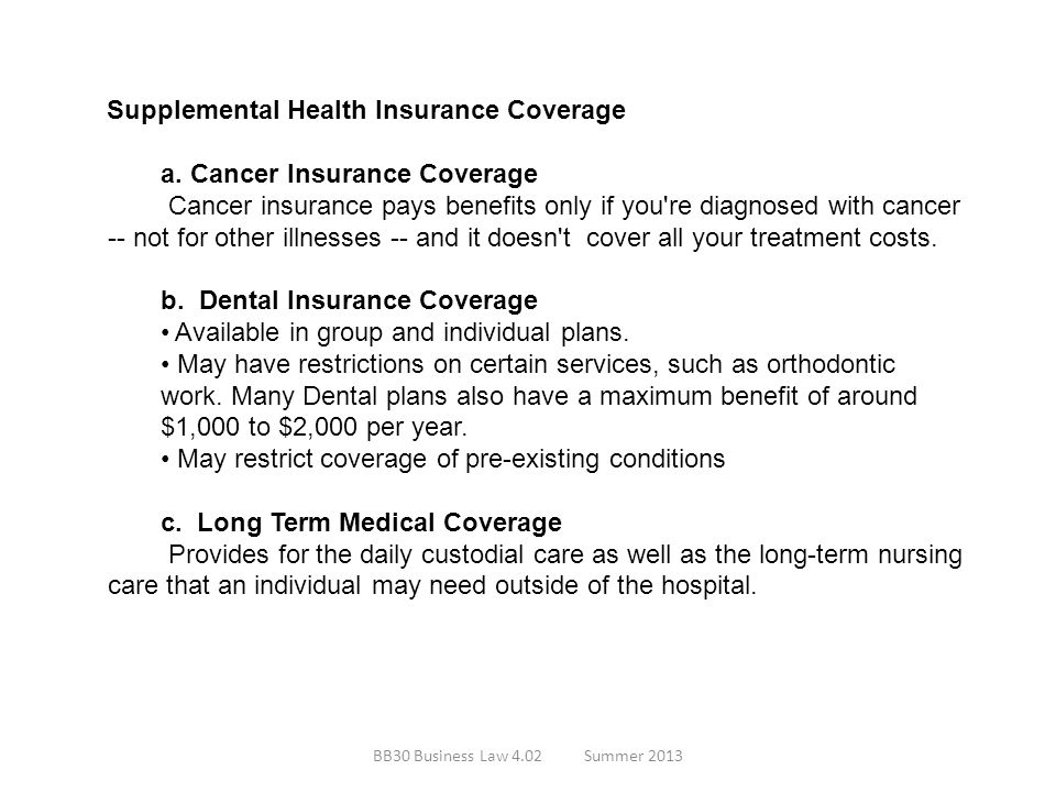 Supplemental Health Insurance Coverage a. Cancer Insurance Coverage