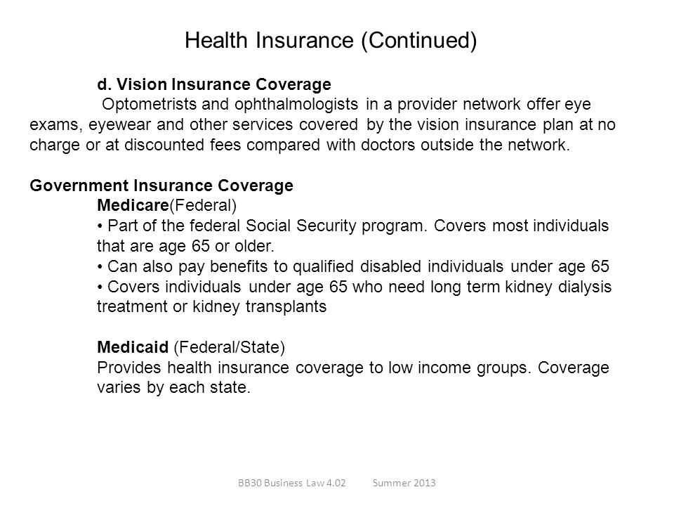 Health Insurance (Continued)