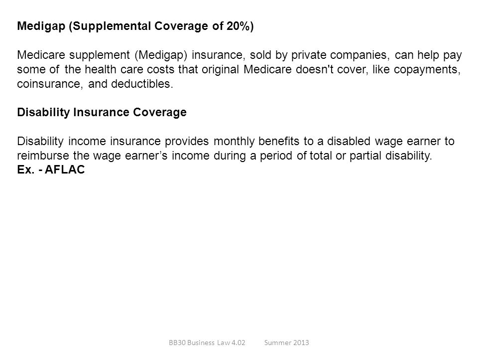 Medigap (Supplemental Coverage of 20%)