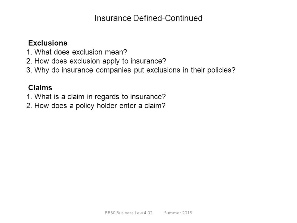Insurance Defined-Continued