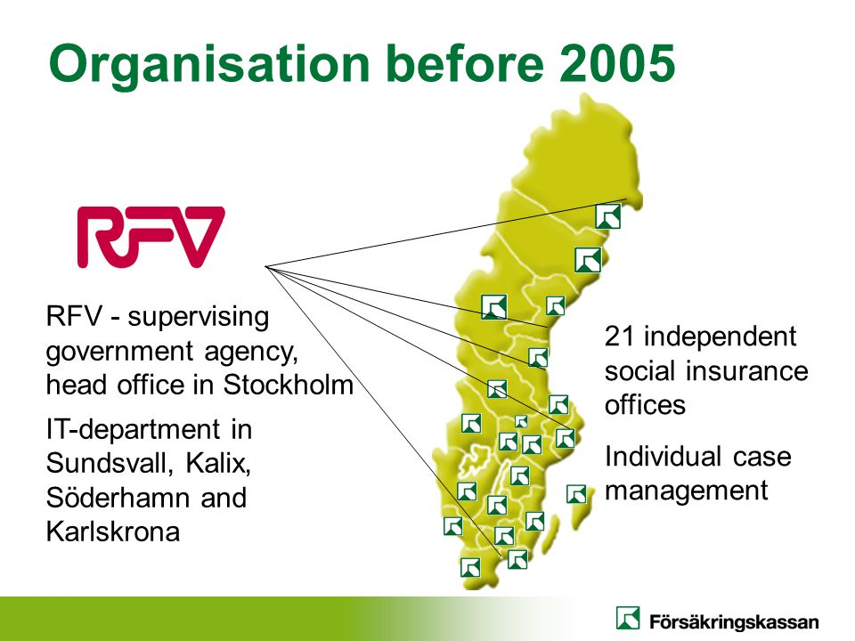 Organisation before 2005 RFV - supervising government agency, head office in Stockholm. IT-department in Sundsvall, Kalix, Söderhamn and Karlskrona.