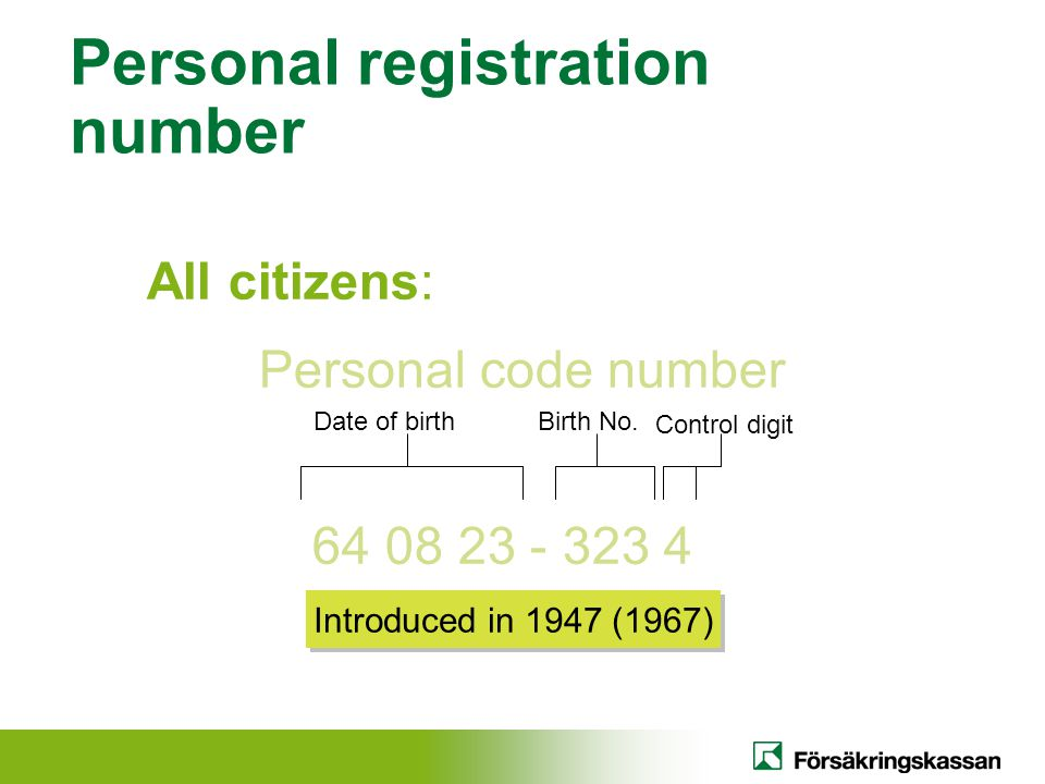 Personal registration number