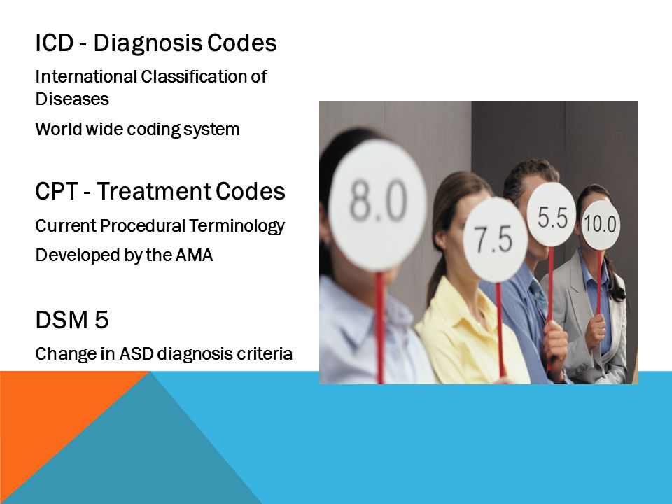 ICD - Diagnosis Codes CPT - Treatment Codes DSM 5