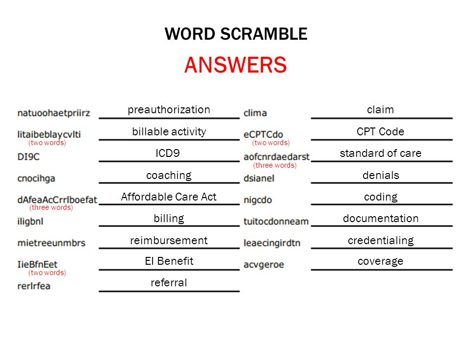 ANSWERS WORD SCRAMBLE preauthorization claim billable activity