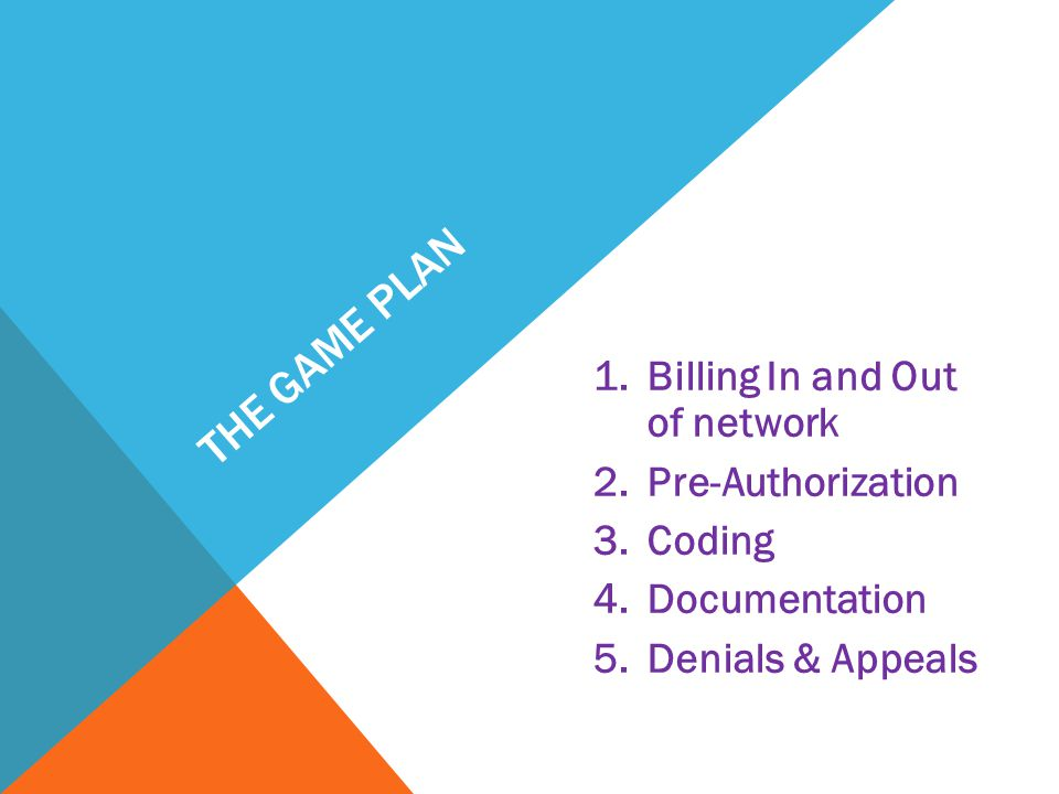 The Game plan Billing In and Out of network Pre-Authorization Coding