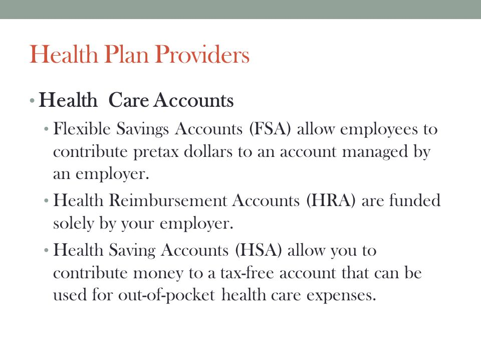 Health Plan Providers Health Care Accounts