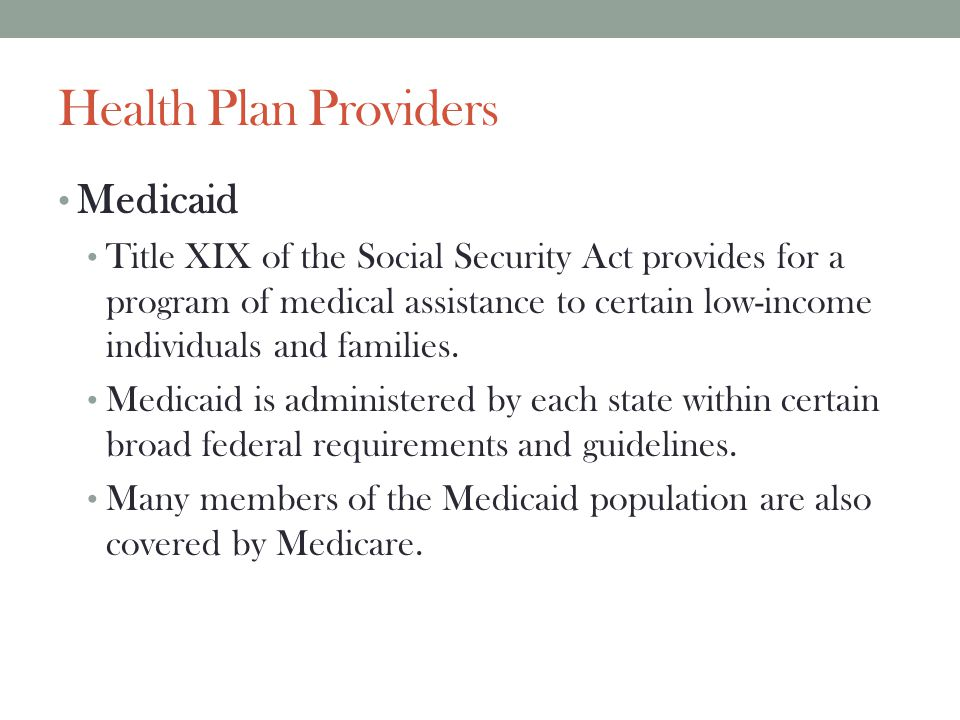 Health Plan Providers Medicaid