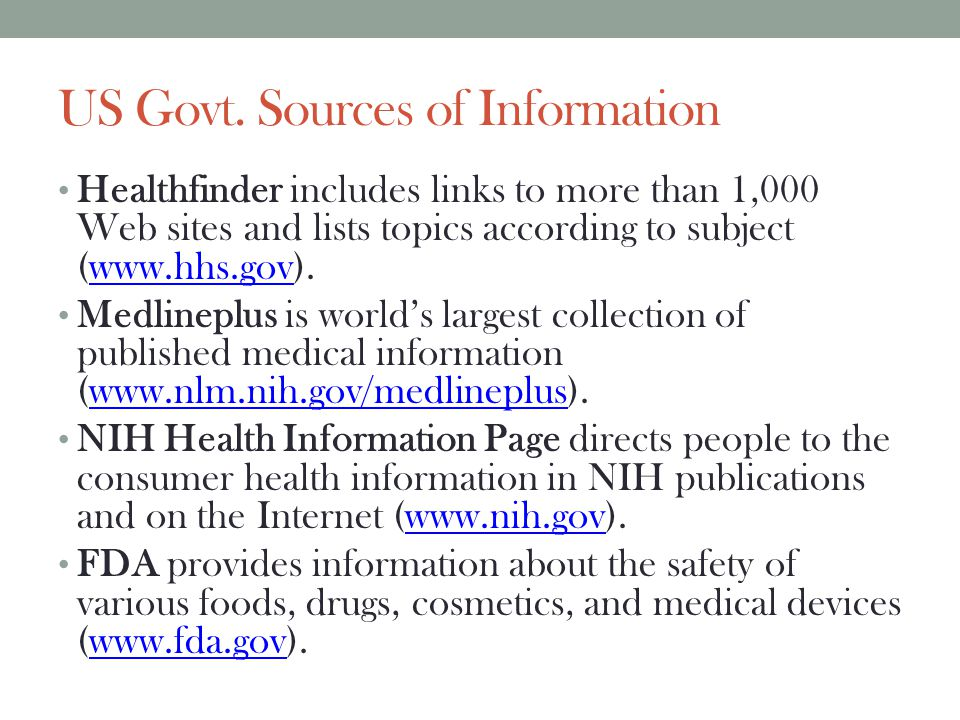 US Govt. Sources of Information