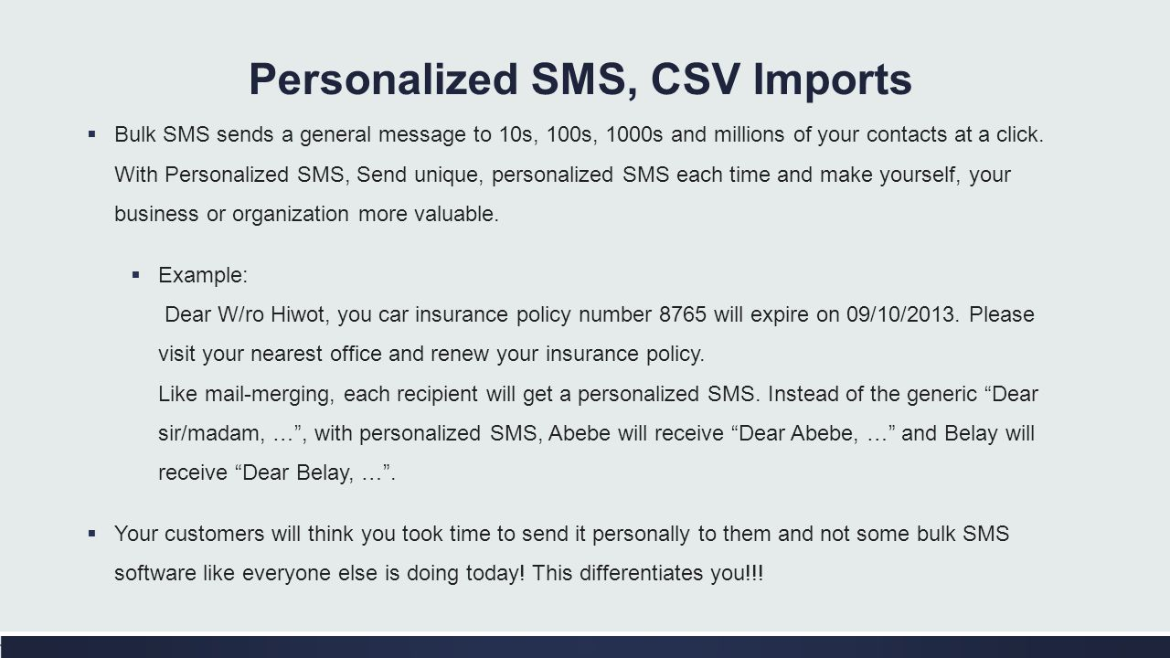 Personalized SMS, CSV Imports